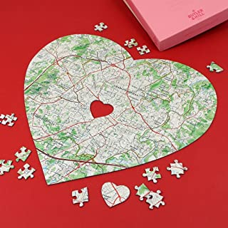 Butler and Hill Heart Shaped Personalized Map Jigsaw Puzzle