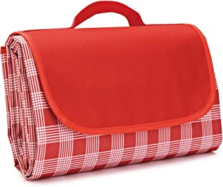 Regalico Waterproof Picnic Blanket, Sand Proof Beach Mat with Handle, Extra Large 80'' x 60'' for Six Adults Camping Blanket, Ideal for Picnic/Travel/Camping/Hiking (Red)