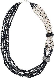 AeraVida Midnight Cascades Fashion Crystal and Cultured Freshwater Pearl Twist Necklace