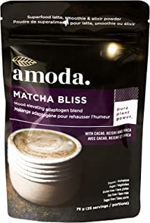 REISHI + CACAO + MACA + MATCHA - An organic adaptogenic coffee alternative - MATCHA BLISS BY AMODA. A mood lifting blend for focused energy, immune support and antioxidants. 2.65oz - 25 servings.