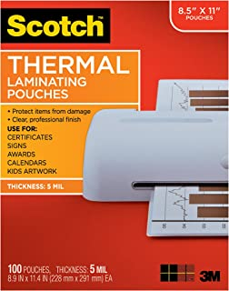 Scotch Brand  Thermal Laminating Pouches, 100-Pack, 8.9 x 11.4 inches, Letter Size Sheets, Clear, 5 Mil Thick for Extra Protection (TP5854-100)