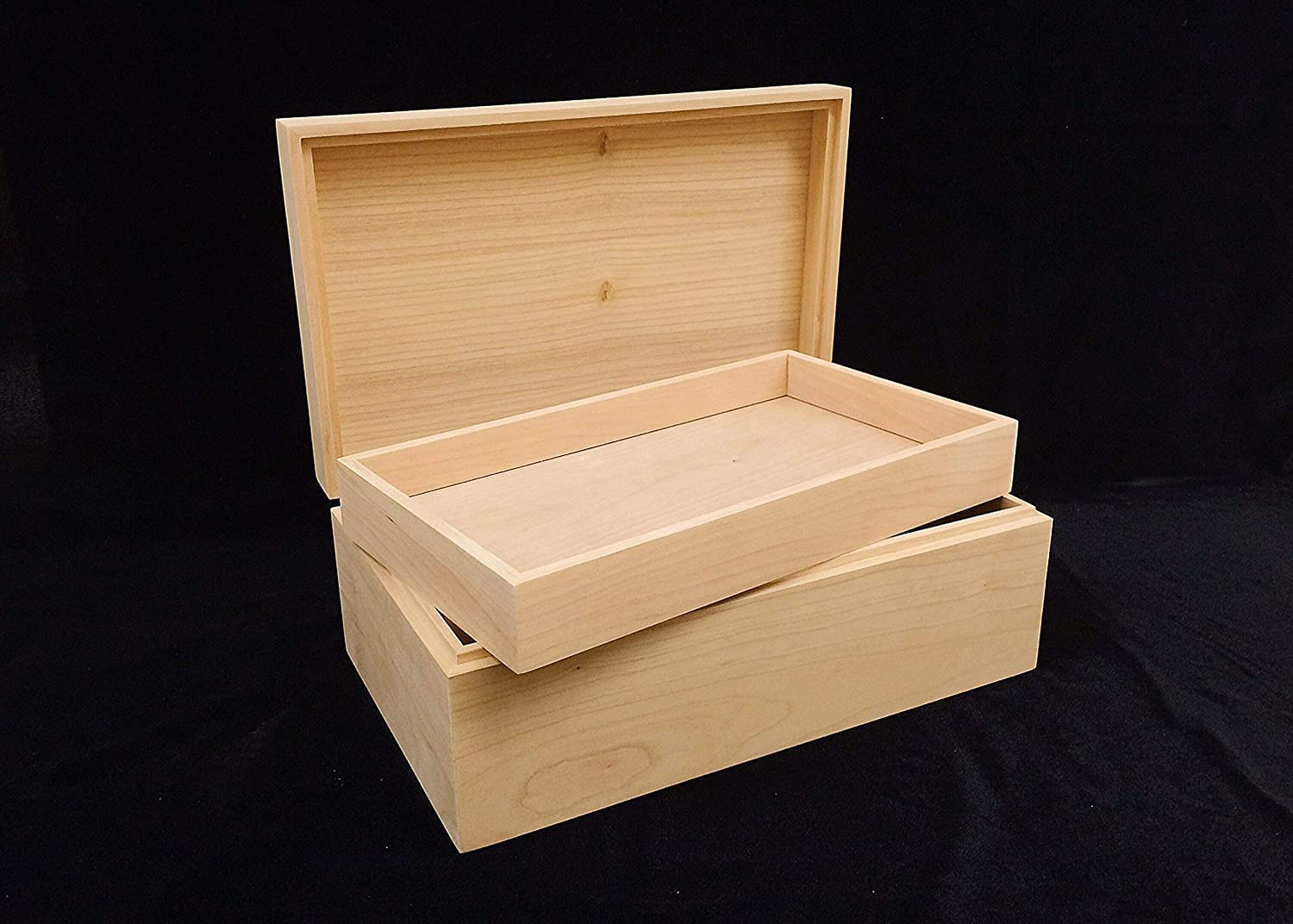 Unfinished Wood Box with Max 49% OFF Hinges Regular discount 3 x 6 Tray-10 4-unfinished