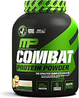 MusclePharm Combat Protein Powder, 5 Protein Blend, Cookies 'N' Cream, 4 Pounds, 51 Servings