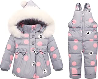 Baby Kids Solid Color Snowsuits with Solid Hooded 2 Pcs Down Jacket + Down Pants + Down Coat Garment Set