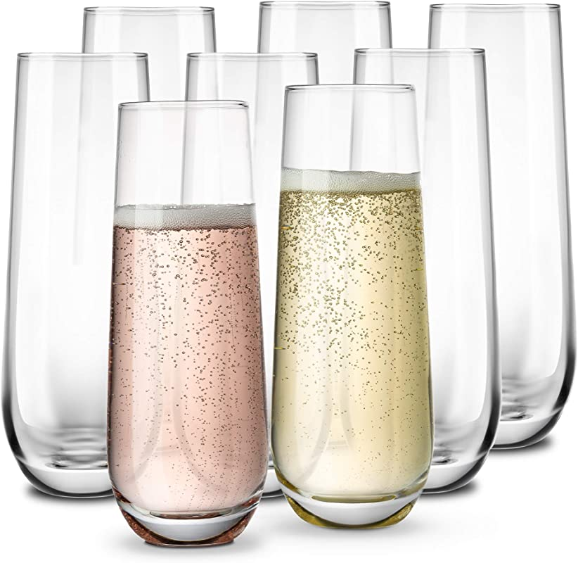 Stemless Champagne Flutes By KooK Durable Glass Set Of 8 10 5oz