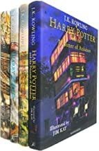 Harry Potter The Illustrated 4 Books Collection Set By J K Rowling - The Philosophers Stone, The Chamber of Secrets, The Prisoner of Azkaban, The Goblet of Fire