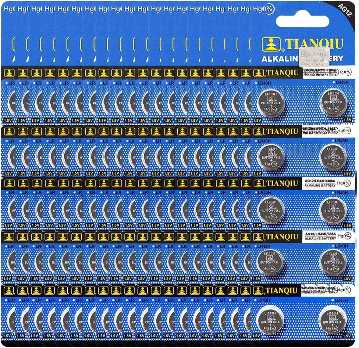 Tianqiu LR43 Kansas City Mall AG12 386A Opening large release sale Alkaline 1.5V Ba 200 Cell Button Battery