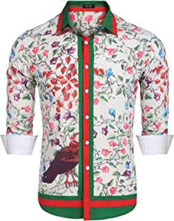 d3497b310 COOFANDY Men's Floral Dress Shirt Long Sleeve Slim Fit Casual Fashion  Luxury Printed Button Down Shirt