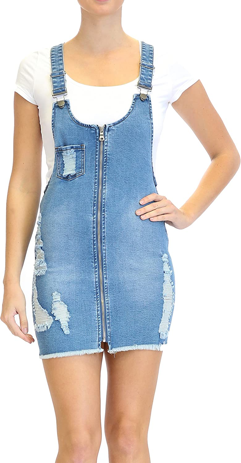TwiinSisters Women's Cute & Sexy Slim Fitted Overall Dress with Front Zipper and Comfort Stretch
