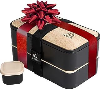 UMAMI® ⭐ Lunch Box Premium - Inclus : 1 Pot À Sauce & 3 Couverts - Boîte Bento Japonaise Hermétique 2 Étages - Zéro Déchet...
