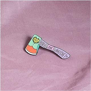 Purple Peace Hatchet Axe Enamel Pin Punk Gothic Heart Badges Brooches Enamel Lapel Pin