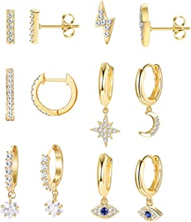 LOYALLOOK 6Pairs Moon Star Dangle Hoop Earrings for Women Mini Bar Stud Earrings CZ Drop Cartilage Cute Jewelry Small Hugg...