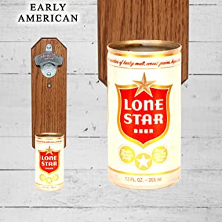 Wall Mounted Bottle Opener with Vintage Lone Star Texas Beer Can Cap Catcher