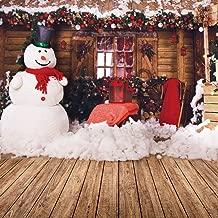 GoodsFederation 10x10ft Christmas Photo Backdrops Christmas Village Frame House Decor Snowman Photography Background Vinyl Photo Booth Studio Props SDJ-210