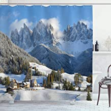 Ambesonne Apartment Decor Collection, Mountain Village Scenery in Winter with Snow Peaks Northern Zone Spot Alps Photo, Polyester Fabric Bathroom Shower Curtain, 84 Inches Extra Long, White Blue Green