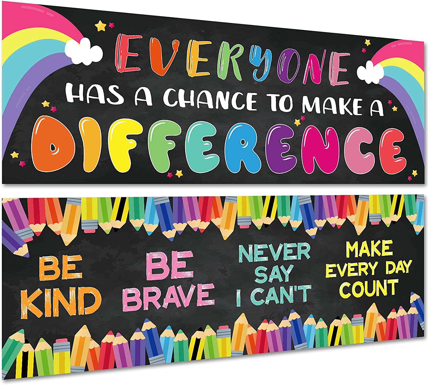 2 Pack Motivational Classroom Decorations Banner Posters for Teachers, Positive/Inspirational/Growth Mindset Banner for Students Educational, Bulletin Board/Wall Decor for Preschool/Elementary