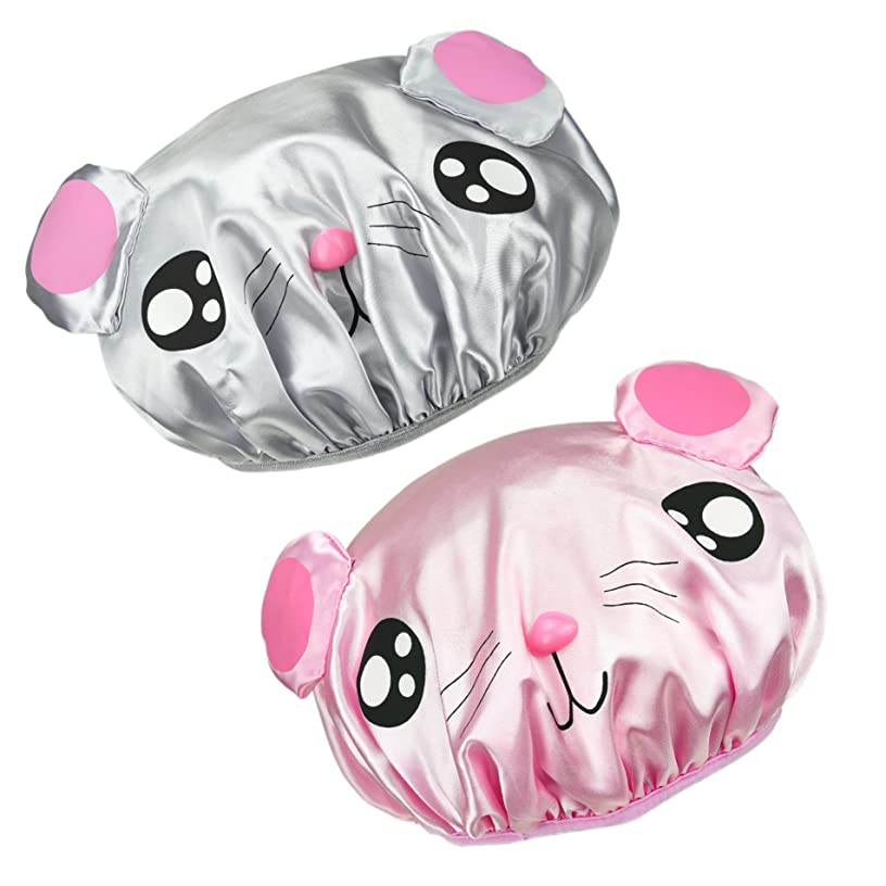 NKTM Children Shower Cap Cute Waterproof Double Layer Kids Cartoon Shower Hat 2 Pack