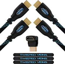 Twisted Veins HDMI Cable 50 ft, 2-Pack, Long High Speed HDMI Cord with Ethernet, Maximum Length Single Piece Cable – a Replacement Option for an HDMI Extension/Extender