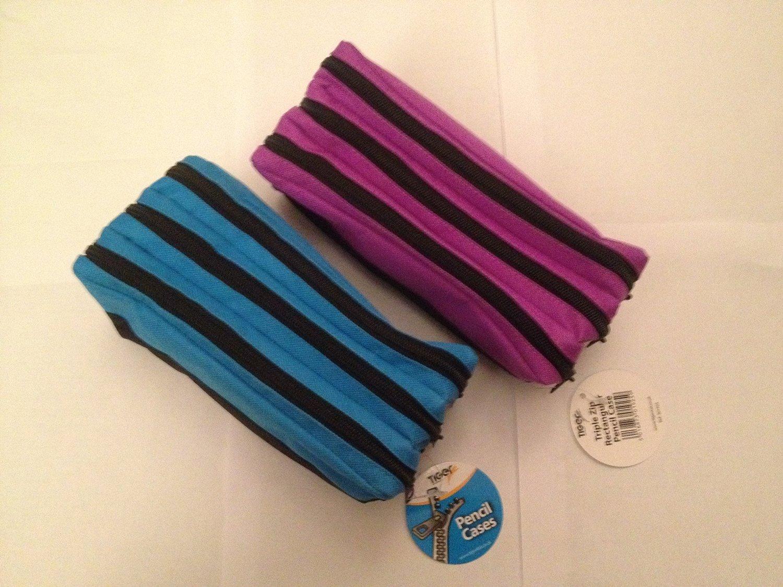 Bolsillo con cremallera tela grande Rectangular Triple estuche (púrpura) - ideal para la escuela: Amazon.es: Hogar