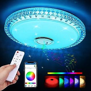Plafonnier LED, 60W Luminaire Plafonnier avec Haut-parleur Bluetooth Musiqu, Plafonnier Chambre RGB avec télécommande et c...