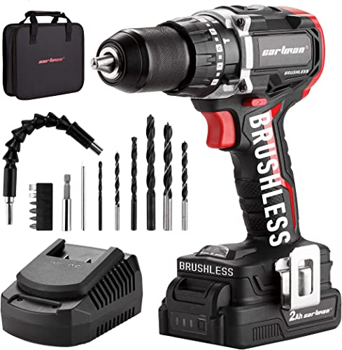 popular CARTMAN outlet online sale Cordless Drill, Brushless 20V 1/2 Inch Keyless Chuck Drill Driver, 440 In-lbs Torque, 21+1 Torque Setting, discount Fast Charger 2.4A, 2-Variable Speed, Built-in LED Impact Drill with 2.0A Battery outlet sale
