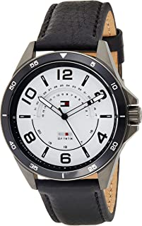 Tommy Hilfiger Mens Quartz Watch, Analog Display and Leather Strap 1791396