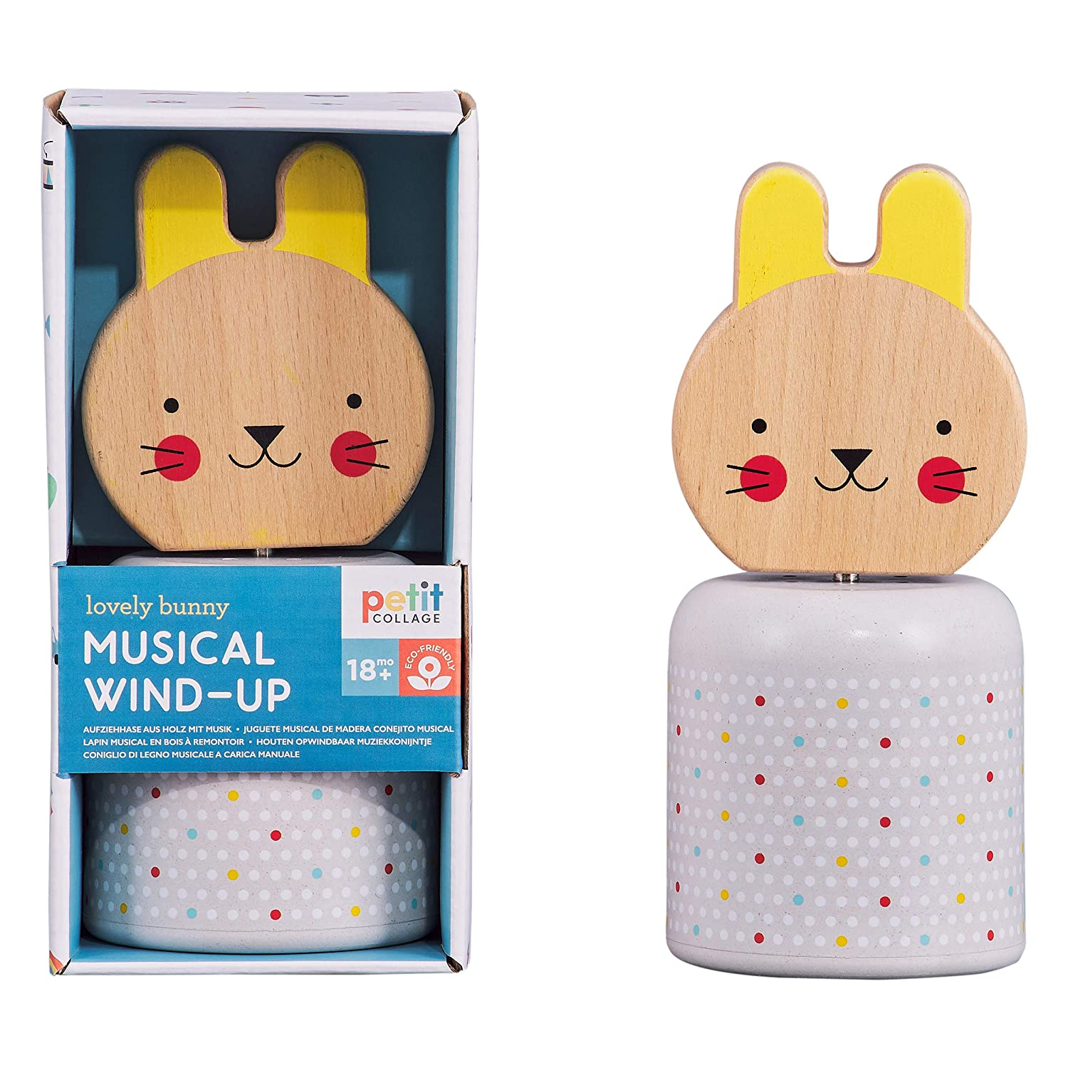 Petit Max 56% OFF Collage Baby Wooden Discount mail order Wind-Up Musical Toy Bunny Cute –