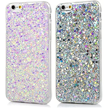 360 Gradi 3 in 1 Gradiente Sparkle Glitter Bling Ultra Sottile Flessibile Morbida Gel Anti Graffio Antiurto Protettiva Bumper Case JAWSEU Custodia Cover iPhone 6//6S Silicone TPU