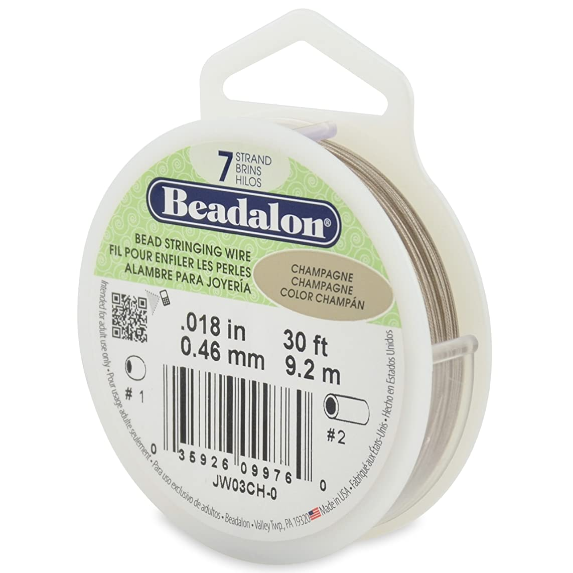 Beadalon 7-Strand Stainless Steel 0.018-Inch Bead Stringing Wire, 30-Feet, Champagne