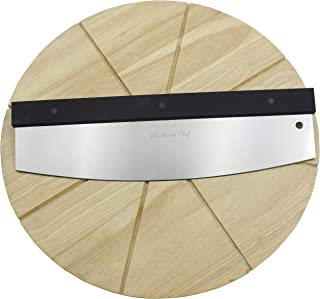 Checkered Chef Premium Pizza Cutter and Cutting Board Set - Rocker Pizza Cutter and 13.5 Inch Round Wooden Pizza Board