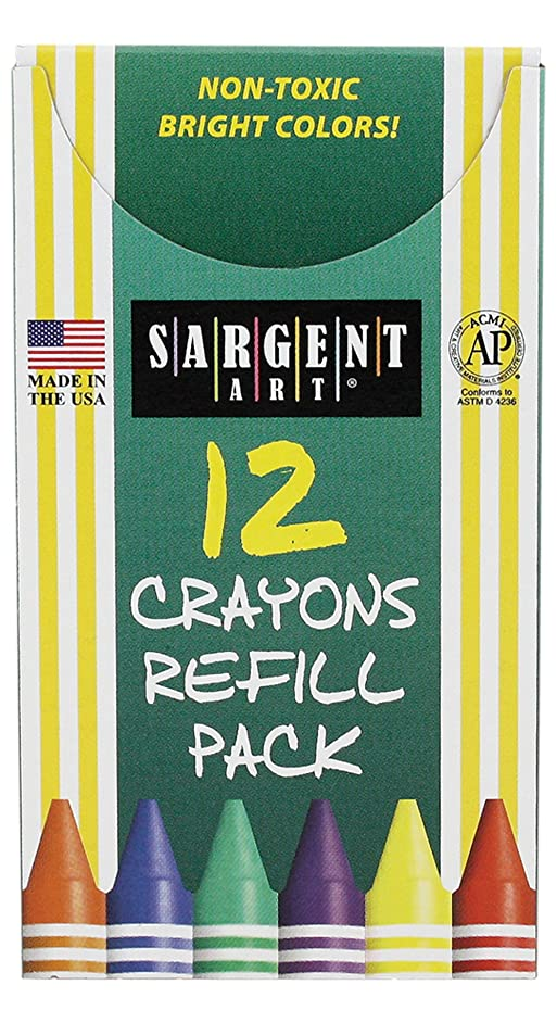 Sargent Art 22-0861 12-Count Tuck Box Standard Size Crayon Refill, Turquoise