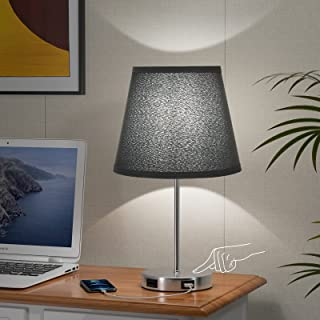 Aooshine Touch Control Table Lamp, Modern Black Touch Lamp with 2 USB Fast Charging Ports, 3 Way Dimmable Small Touch Beds...