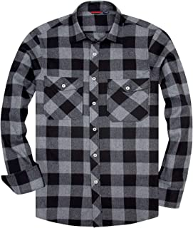 siliteelon Men's Long Sleeve Casual Plaid Flannel Shirt