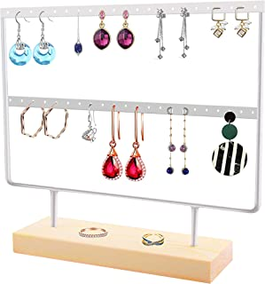 ToLanbbt Earring Holder, Jewelry Organizer for Hanging Earrings, Dangler Display Wood Stand, Eardrop Organizer Holds up 22 Pairs of Earrings (44 Holes 2 Layers, White)