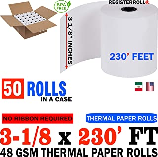 Universal 35763 Single-Ply Thermal Paper Rolls, 3 1/8 x 230 thermal paper roll 50 pack from RegisterRoll