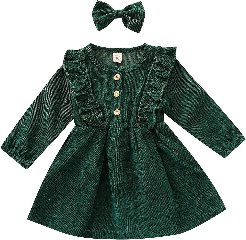 Karuedoo Kids Toddler Sale Limited time trial price price Baby Girl Ruffle Sleeve Dres Corduroy Long