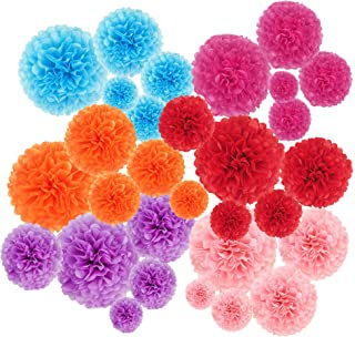 """30 pcs Paper Pom Poms Decorations-Tissue Paper Flower for Party, Wedding, Birthday,Baby Shower Decor (14"""",10"""",8"""",6"""",4"""")"""