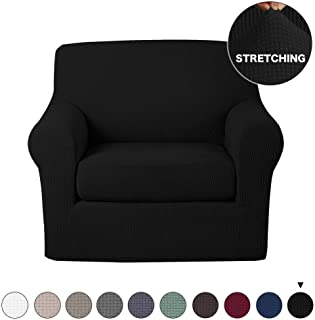 2 Piece Sofa Cover Stretch Spandex Sofa Slipcovers with Elastic Bottom Black Chair Cover Non Slip Stretch Chair Slipcover Jacquard Stretch Fabric High Spandex Form Fit Slipover (Chair, Black)