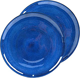 roro Cobalt Blue and Matte Gray Ceramic Stoneware Dinner Plate, 11 Inch Set of 2