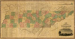 VintPrint Map Poster - A map of The State of Tennessee Taken from Survey - 24