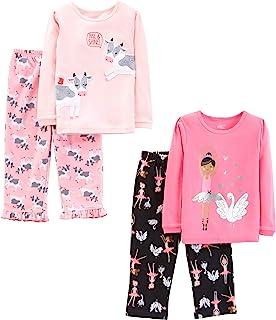 Little Kid and Toddler Girls' 4-Piece Pajama Set (Cotton Top & Fleece Bottom)