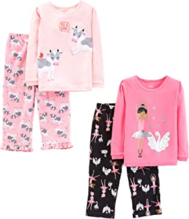 Little Kid and Toddler Girls' 4-Piece Pajama Set (Cotton...
