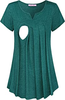JOYMOM Maternity Summer Split V Neck Short Sleeve Breastfeeding Tunics Tops