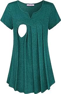 Maternity Summer Split V Neck Short Sleeve Breastfeeding Tunics Tops
