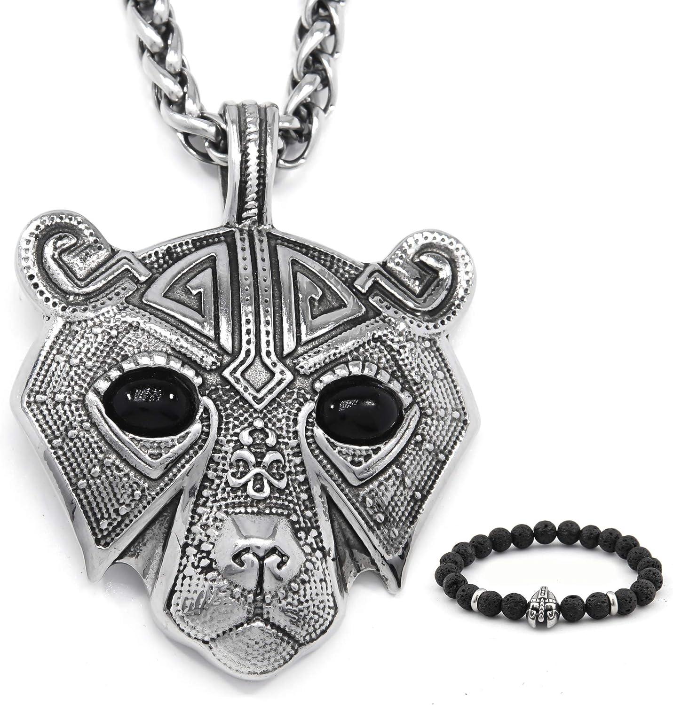 BAVIPOWER Viking Bear Norse Berserker Pendant Necklace 4mm Keel Chain Stainless Steel Asatru Pagan Jewelry for Men Women