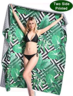 Oversized Microfiber Beach Towel Blanket - Quick Fast Dry Sand Free Extra large Big Outdoor Travel Rack Swim Micro Fiber Pool Picnic Thin Mat Accessories For 2 Women Adults Tropical Funny Hawaii Palm