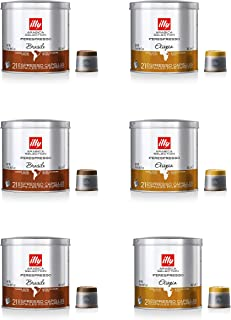 illy Arabica Selections Variety Pack, iperEspresso Capsule, 100% Arabica Bean Signature Italian Blend, Premium Gourmet Roast Espresso, Compatible with illy iperEspresso Machines, Variety, 126 Count
