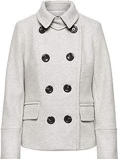 Women's Gray Wool-Blend Twill Peacoat Coat, M