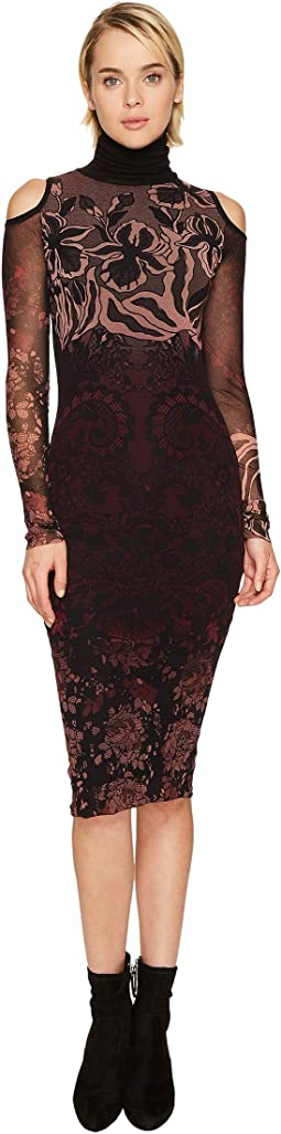 FUZZI - Cut Out Shoulder Long Sleeve Turtleneck Layered Lace Dress Cover-Up