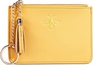 2 Pack Women Coin Purse Change Wallet Coin Pouch Card Holder Clutch with Key Chain Ring Tassel Zip by Gostwo(Napa Yellow)
